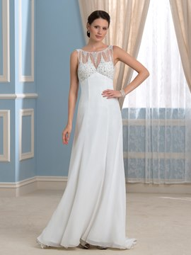 Ericdress Charming Scoop Beading A Line Empire Wedding Dress