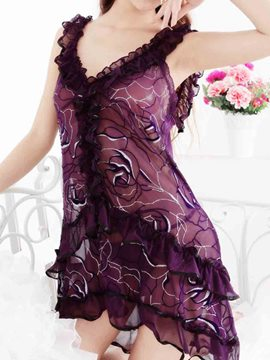 Ericdress Flower Pattern Pleated Showy Pattern Babydoll