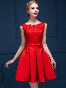 Ericdress Scoop Applikationen Bowknot kurzen Cocktailkleid