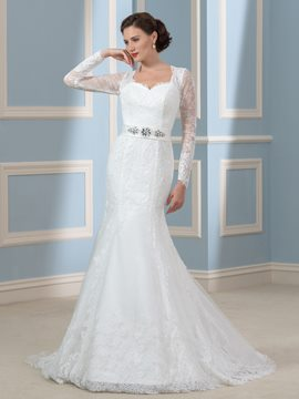 Ericdress Elegant Beading Long Sleeves Mermaid Wedding Dress