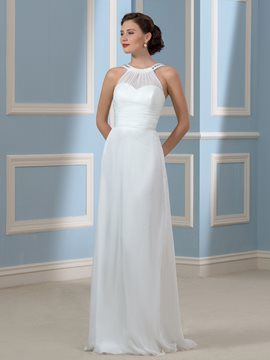 Ericdress Comfortable Halter Beading Chiffon Wedding Dress