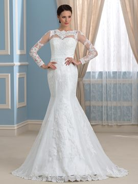 Ericdress Elegant Bateau Long Sleeves Mermaid Wedding Dress