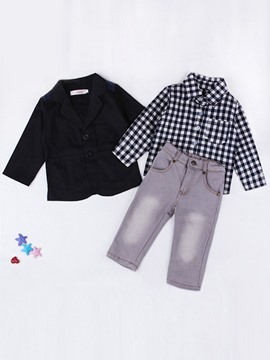Ericdress Black Jacket & Plaid Shirt & Jeans 3-Pcs Boys Outfit