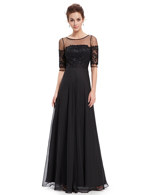 Ericdress A Line Round Neck Half Sleeve Lace Evening Dress