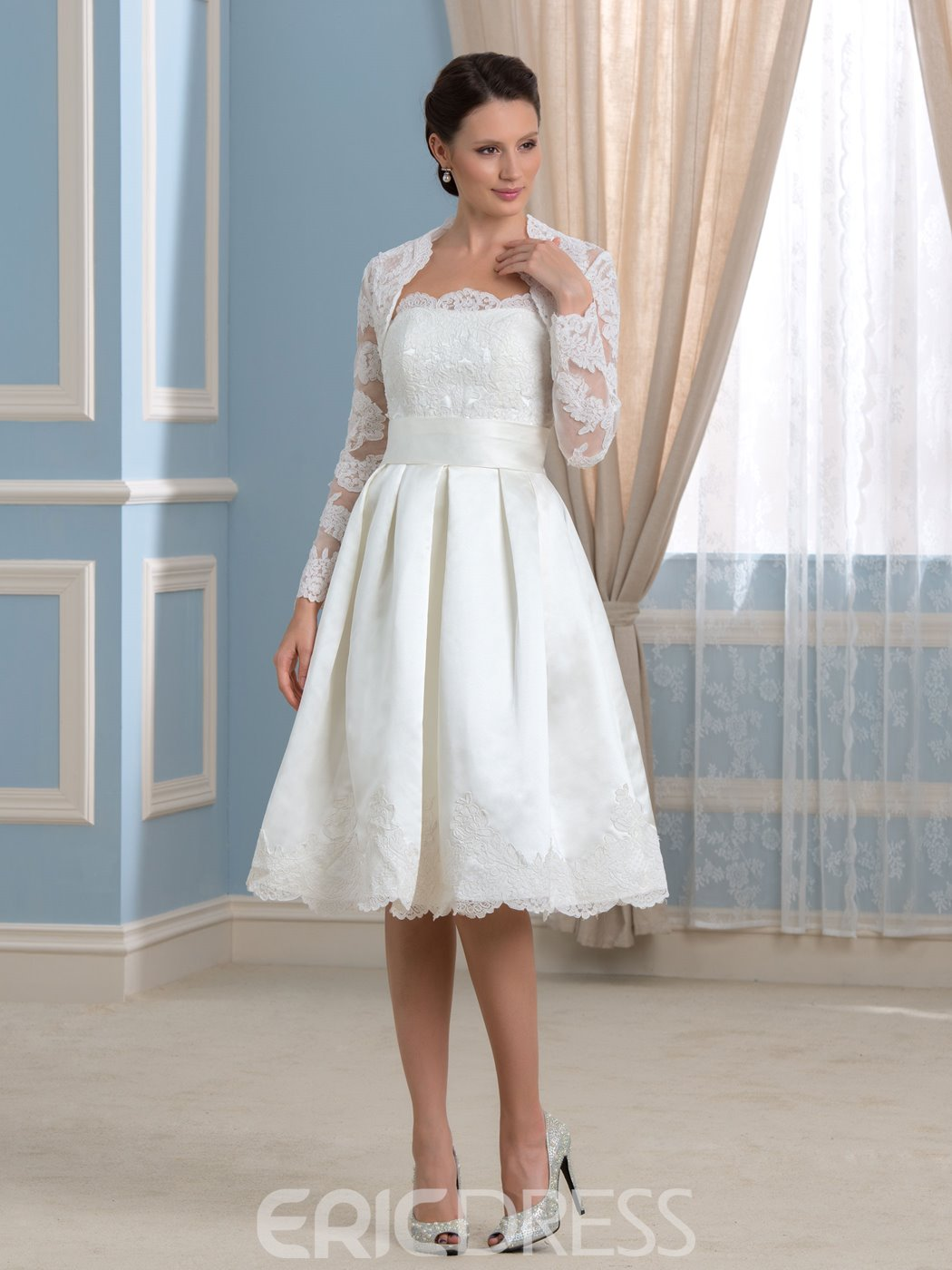 Ericdress Beautiful Strapless Appliques Knee Length Wedding Dress