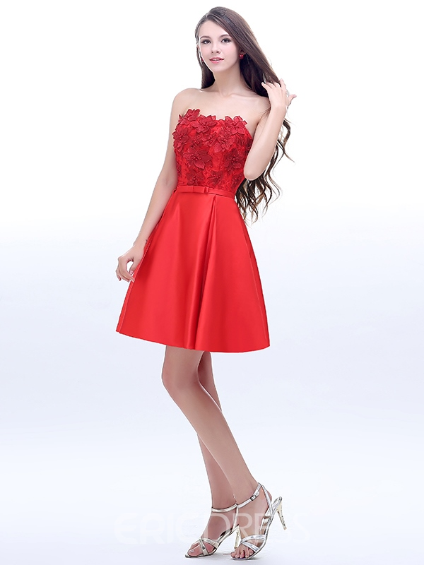Ericdress A-Line Strapless Appliques Bow Short Homecoming Dress
