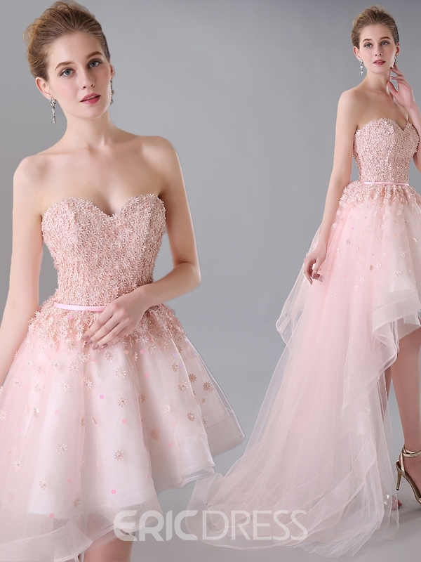 Ericdress Asymmetrical Length Appliques Homecoming Dress
