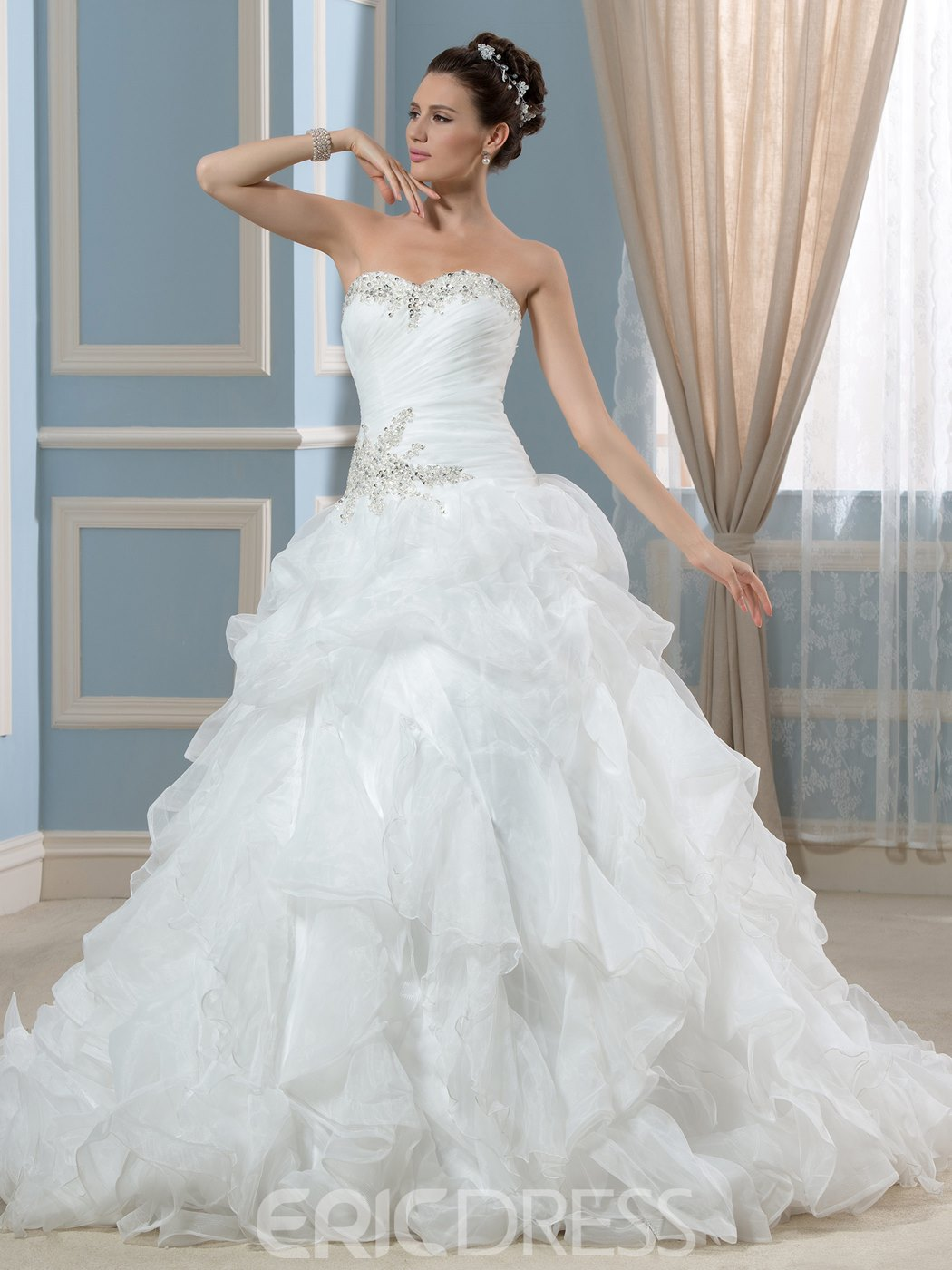 Ericdress Sweetheart Ruffles Beading Ball Gown Wedding Dress
