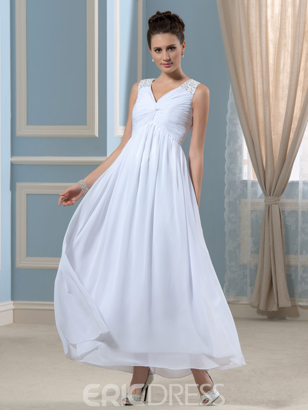 Ericdress Simple V Neck A Line Ankle Length Wedding Dress 11447070 ...