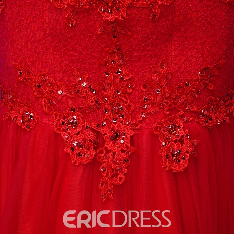 Ericdress V-Neck Appliques Sheath Evening Dress