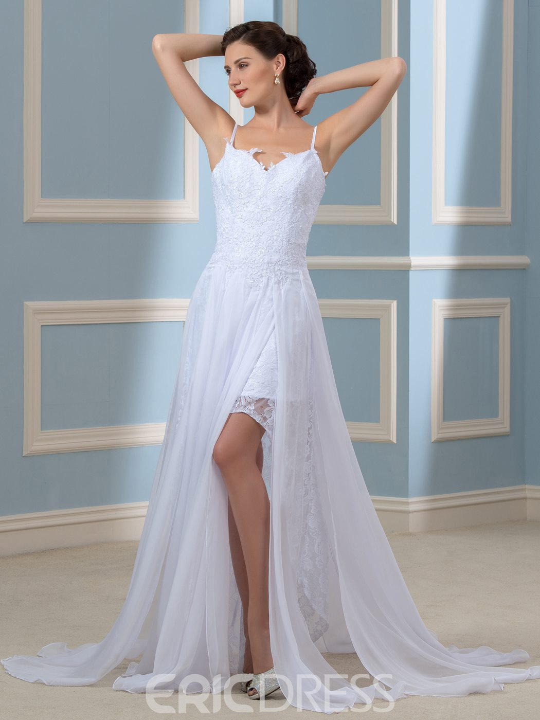 Ericdress Casual Spaghetti Straps Split Front Wedding Dress