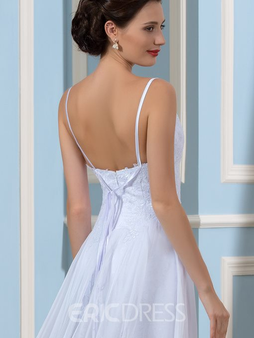 Ericdress Spaghetti Straps Split Front Beach Wedding Dress