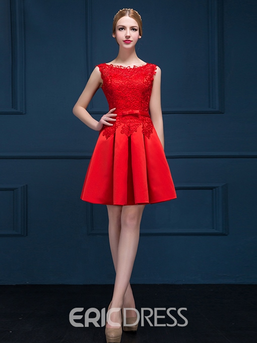 Ericdress Scoop Neck Bowknot Lace Homecoming Dress
