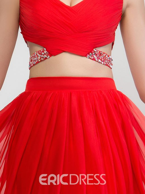 Ericdress V-Neck Two-Piece Criss-Cross Sequins Prom Dress