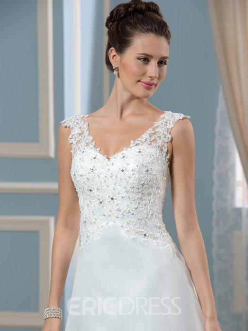 Ericdress V Neck Appliques Sequins Button Wedding Dress