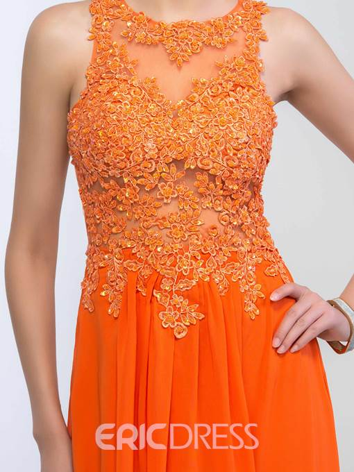 Ericdress Scoop Appliques Sequins Open Back Prom Dress