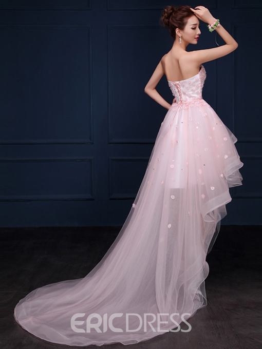 Ericdress A-Line High Low Asymmetric Homecoming Dress With Beading Flowers