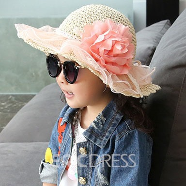 Romantic Lace Flower Decorated Kids Hat