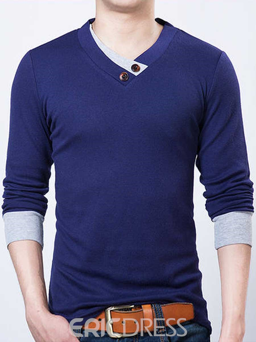 Ericdress Long Sleeve V-Neck Button Decorated Men's T Shirt