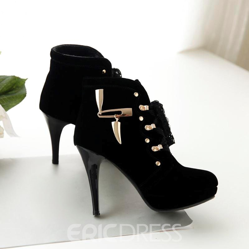 Ericdress Metal Decoration Lace-up High Heel Boots