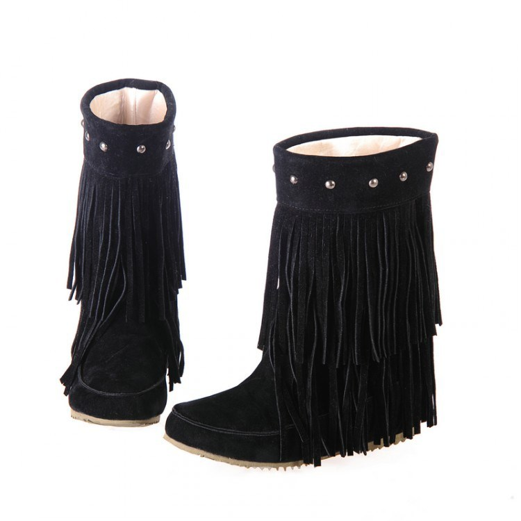Ericdress Suede Flat Boots with Tassels&rivets