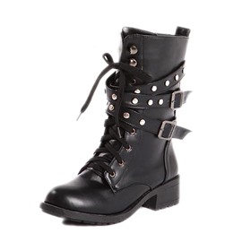 Ericdress Cool Rivets Lace-up Ankle Boots