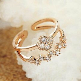 Upscale Zircon Decorated Concise Ring