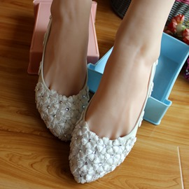 Ericdress White Lace Flower Wedding Shoes