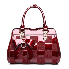 Ericdress Luxury Color Block Patent Leather Handbag