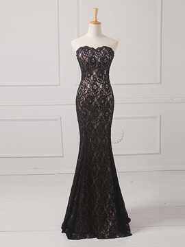 Ericdress Strapless Lace Floor-Length Evening Dress