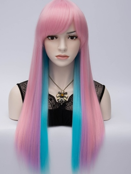 Ericdress Club Party Rainbow Long Straight Women's Cosplay Wig 28 Inches