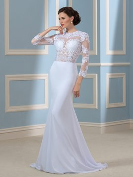 Ericdress Sexy Backless Mermaid Wedding Dress with Sleeves