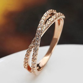 Concise Crossed Rose Gold Ring