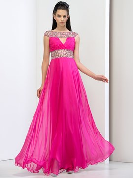 Ericdress Bateau Beaded Hollow Prom Dress
