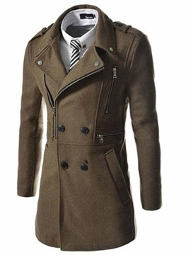 Ericdress Plain Zip Decorated Slim Men's Wool Coat