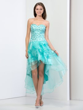 Ericdress Strapless Beaded Tiered Asymmetry Prom Dress