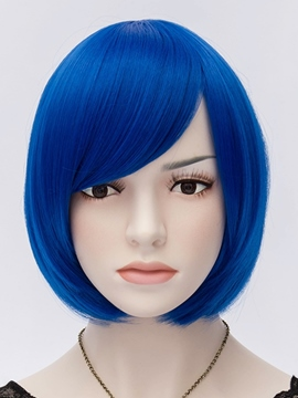 Ericdress Royal Blue Straight Flapper Bob Cosplay Party Wigs 10 Inches