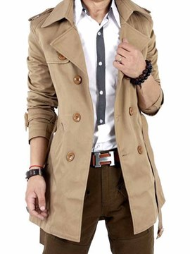 Ericdress Plain Double-Breasted with Belt Slim Men's Trench Coat