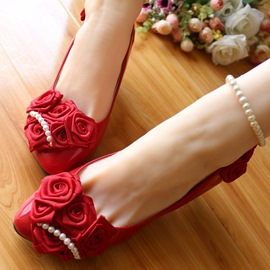Ericdress Pretty Red Rose Wedding Shoes