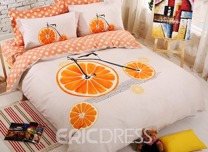 Ericdress Orange Bike Print Kids Bedding Sets 11465926