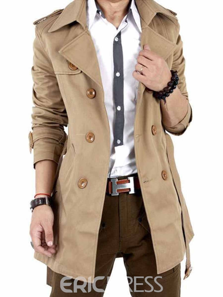 Ericdress Solid Color Double-breasted With Belt Slim Mens Trench Coat