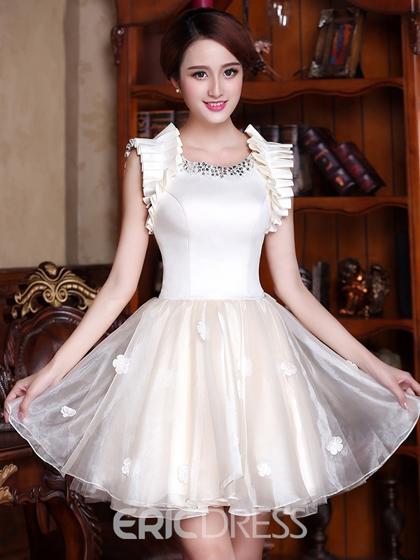 Ericdress Round Neck A-Line Flowers Ruched Homecoming Dress