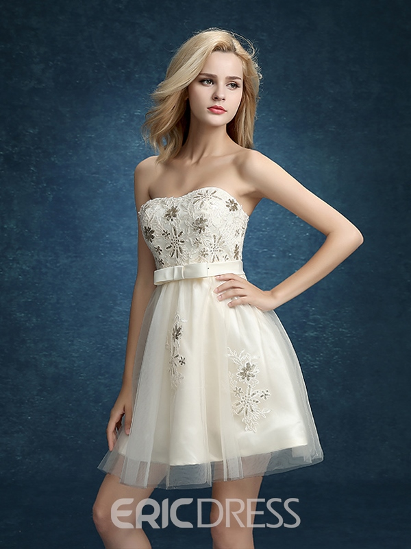 Ericdress A-Line Strapless Appliques Sequins Bowknot Homecoming Dress