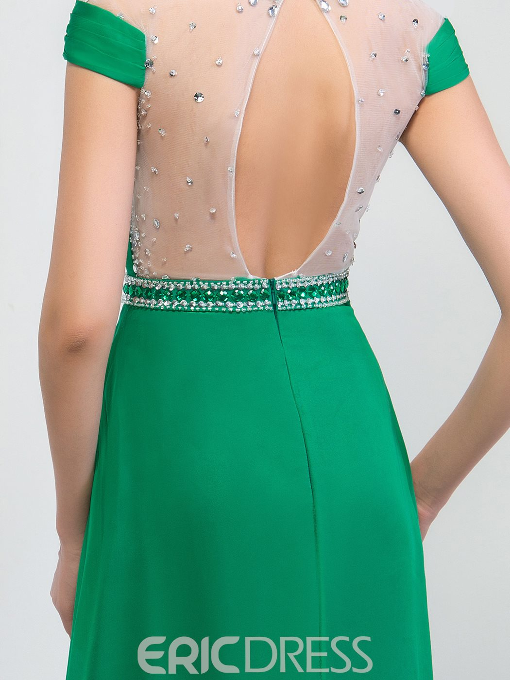 Ericdress Jewel Sequins Beaded Open Back Prom Dresss
