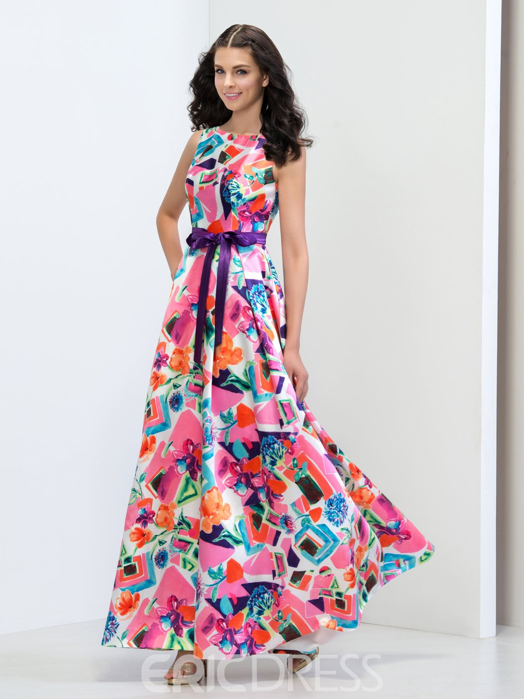 Ericdress A-Line Ribbon Floor-Length Prom Dress