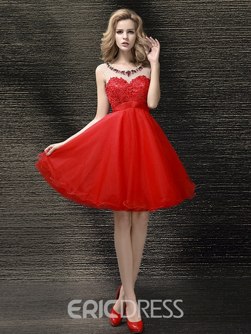 Ericdress A-Line Sweetheart Appliques Beading Homecoming Dress