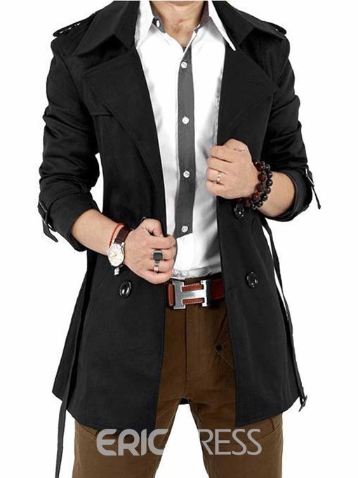 Ericdress Solid Color Double-Breasted with Belt Slim Men's Trench Coat