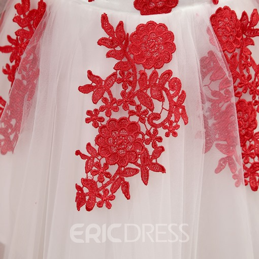Ericdress Strapless Appliques Lace-Up Homecoming Dress