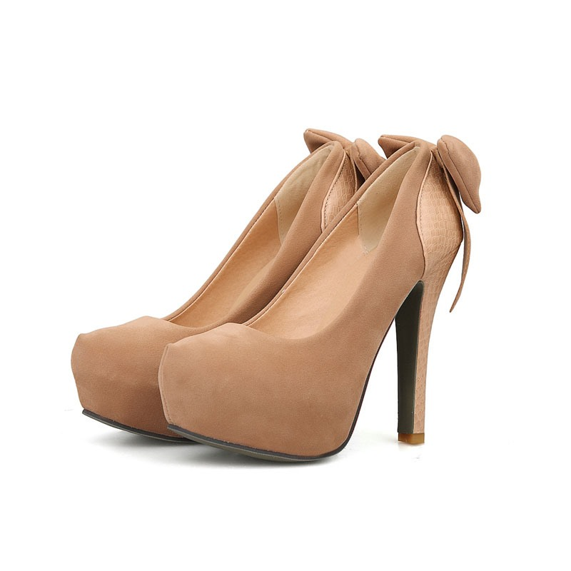 Ericdress Graceful Suede High Heel Pumps with Bowtie