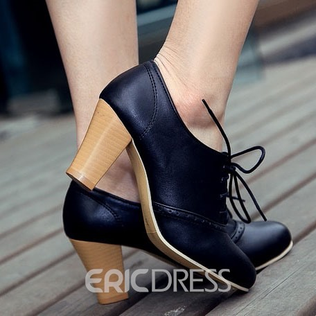 Ericdress Eleagnt Lace-up Chunky Heel Boots